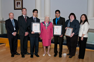 Student Ambassadors at City Council with Gordon Graydon Principals, Transit Direction and Mayor